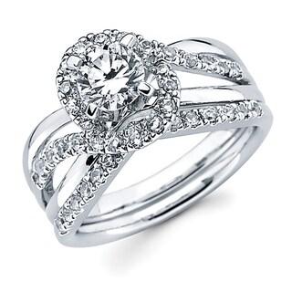 Boston Bay Diamonds 14k White Gold 1 1/6ct TDW Round Diamond Bridal Set (G-H, SI1-SI2)