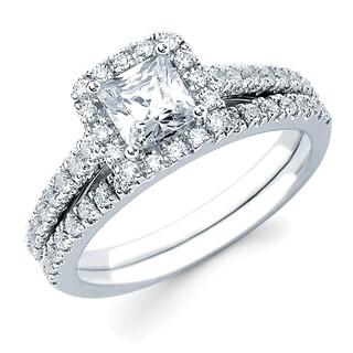 Boston Bay Diamonds 14k White Gold 1 1/3ct TDW Princess-cut Center with Round Side Diamonds Bridal Set (G-H, SI1-SI2)