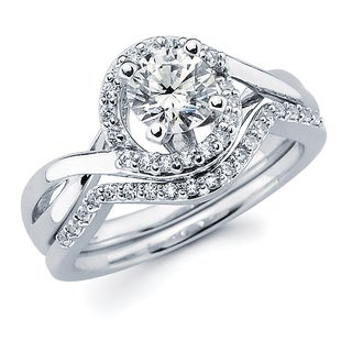 Boston Bay Diamonds 14k White Gold 1ct TDW Round Diamond Bridal Ring Set