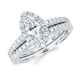 Boston Bay Diamonds 14k White Gold 4/5ct TDW Marquise Cut Diamond Bridal Set