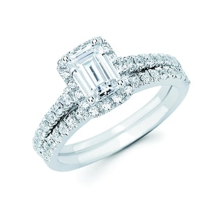 Boston Bay Diamonds 14k White Gold 1 1/3ct TDW Emerald-cut Diamond Bridal Ring Set (I, I1)