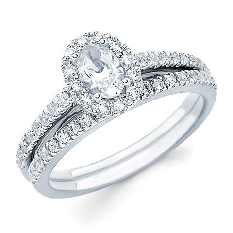 Boston Bay Diamonds 14k White Gold 1ct TDW Oval-cut Center w/ Round Side Diamond Bridal Set