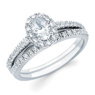Boston Bay Diamonds 14k White Gold 1ct TDW Oval-cut Center with Round Side Diamond Bridal Set