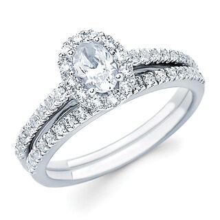 Boston Bay Diamonds 14k White Gold 1ct TDW Oval-cut Center w/ Round Side Diamond Bridal Set