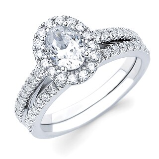 Boston Bay Diamonds 14k White Gold 3/4ct TDW Oval-cut Diamond Bridal Set (G-H, SI1-SI2)