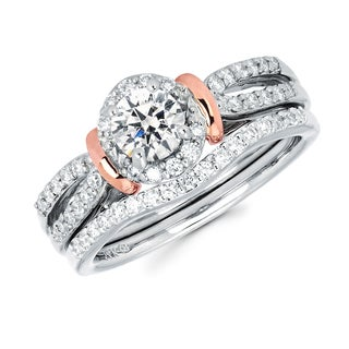 Boston Bay Diamonds 14k Two-tone White & Rose Gold 7/8ct TDW Diamond Split Shank Bridal Set