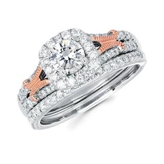 Boston Bay Diamonds 14k White Gold 1ct TDW Diamond Bridal Ring Set (G-H, SI1-SI2)