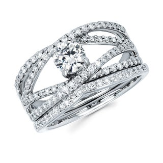 Boston Bay Diamonds 14k White Gold 1ct TDW Diamond Bridal Set (G-H, SI1-SI2)