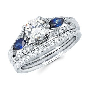Boston Bay Diamonds 14k White Gold 1 1/6ct TDW Diamond and Blue Sapphire Bridal Set (I, I1)