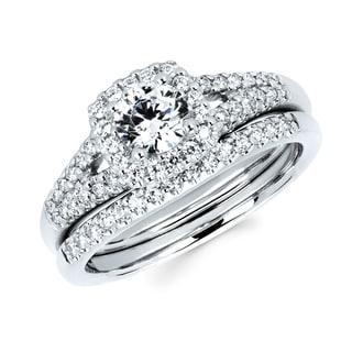 Boston Bay Diamonds 14k White Gold 7/8ct TDW Diamond Halo Bridal Set (I, I1)
