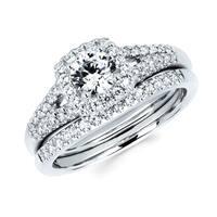 Boston Bay Diamonds 14k White Gold 7/8ct TDW Diamond Halo Bridal Set