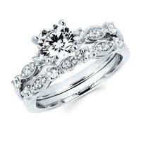 Boston Bay Diamonds 14k White Gold 1 3/8ct TDW Diamond Milgrain Bridal Set