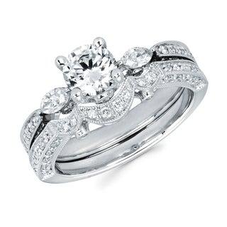 Boston Bay Diamonds 14k White Gold 1 2/5ct TDW Round and Marquise Diamond Bridal Set (G-H, SI1-SI2)