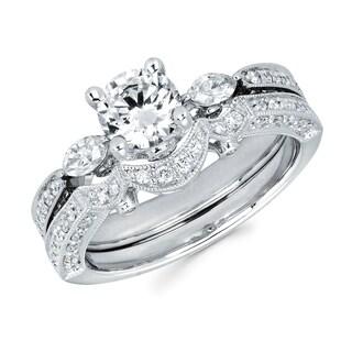 Boston Bay Diamonds 14k White Gold 1 2/5ct TDW Round and Marquise Diamond Bridal Set