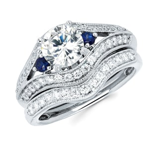 Boston Bay Diamonds 14k White Gold 1 1/2ct TDW Diamond and Blue Sapphire Bridal Ring Set (G-H, SI1-S