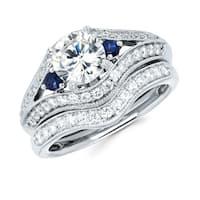 Boston Bay Diamonds 14k White Gold 1 1/2ct TDW Diamond and Blue Sapphire Bridal Ring Set (G-H, SI1-S
