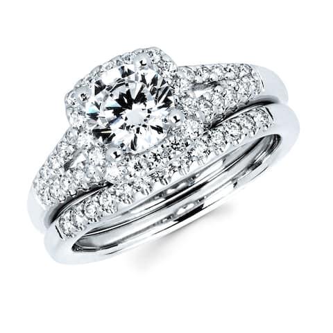 Boston Bay Diamonds 14k White Gold 1 1/2ct TDW Diamond Bridal Set