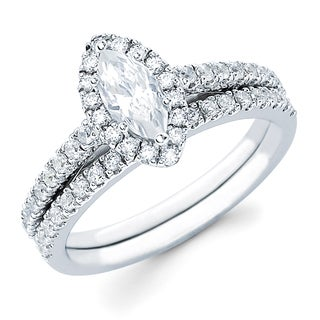 Boston Bay Diamonds 14k White Gold 5/8ct TDW Marquise-cut Diamond Bridal Ring Set (H-I, SI2-I1)