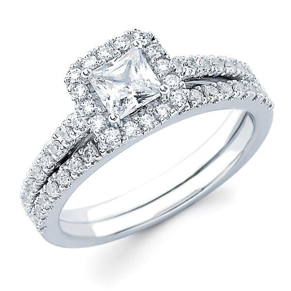 Boston Bay Diamonds 14k White Gold 1ct TDW Princess-cut Diamond Bridal Set