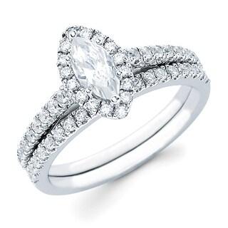 Boston Bay Diamonds 14k White Gold 1ct TDW Marquise Center w/ Round Side Diamonds Bridal Set