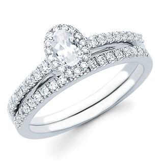 Boston Bay Diamonds 14k White Gold 5/8ct TDW Diamond Halo Bridal Set