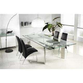 Casabianca Home Euphoria Collection Glass Dining Table - Silver