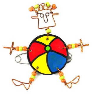 Handmade Dancing Girl Beach Ball Pin (Kenya)