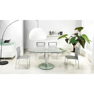 Casabianca Home Thao Collection Small Glass Extendable Dining Table - Silver