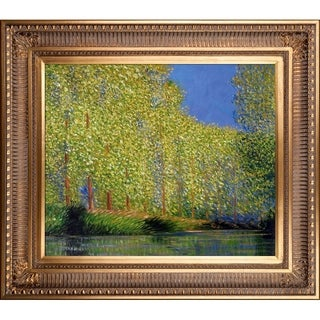 Claude Monet 'Bend in the Epte River' Hand Painted Framed Canvas Art
