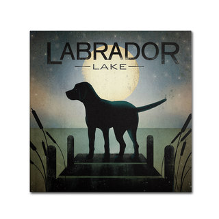 Ryan Fowler 'Moonrise Black Dog Labrador Lake' Canvas Art
