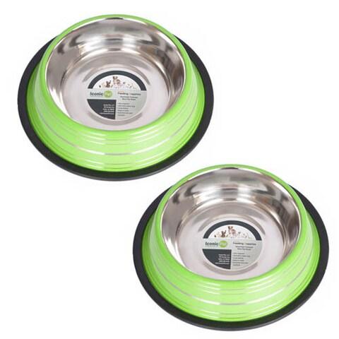 Iconic Pet Color Splash Stripe Non-Skid Pet Bowl (Pack of 2)