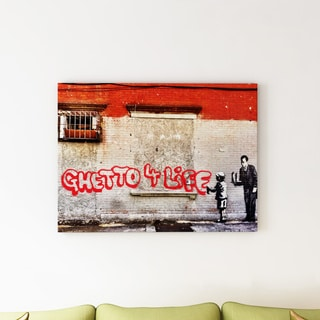 Banksy 'Ghetto For Life' Canvas Art