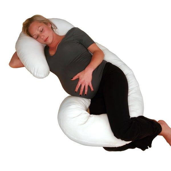 Body Pillow - Total Body Length - Prenatal Pregnancy Pillow - Superior Comfort - Body Pillow, White