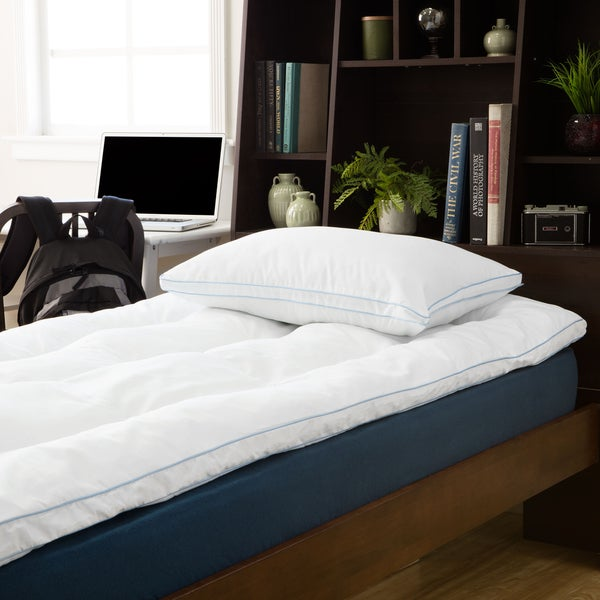 SwissLux Back to Campus Gel-Infused Fiber Bed Topper with Bonus MemoryLOFT Pillow