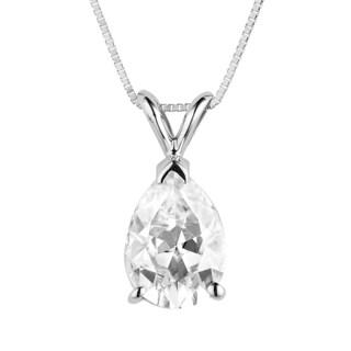 Charles & Colvard 14k White Gold 2.10 TGW Pear Classic Moissanite Drop Pendant