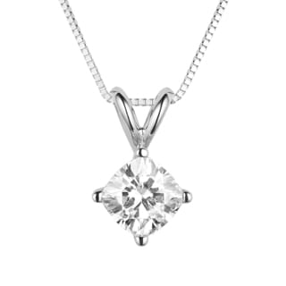 Charles & Colvard 14k White Gold 0.80 TGW Cushion Classic Moissanite Drop Pendant