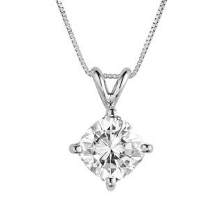 Charles & Colvard 14k White Gold 2.00 TGW Cushion Classic Moissanite Drop Pendant
