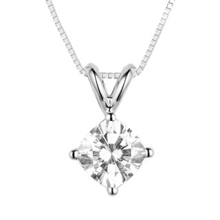 Charles & Colvard 14k White Gold 1.70 TGW Cushion Classic Moissanite Drop Pendant