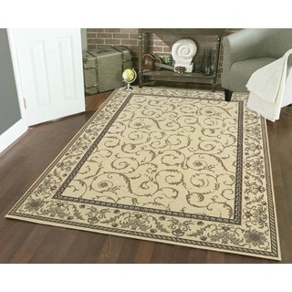 Admire Home Living Amalfi Scroll Ivory  Area Rug (3'3 x 4'11)