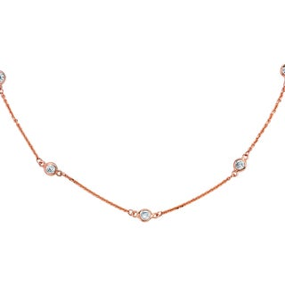 Suzy Levian 1 4/5 ct TDW 14k Rose Gold Bezel Diamonds by the Yard Station Necklace