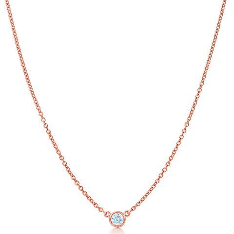 Suzy L. 14k Gold 2/5 ct Bezel Diamond Solitaire Station Necklace