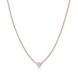 Suzy Levian 14k Gold 1/4 ct Bezel Diamond Solitaire Necklace