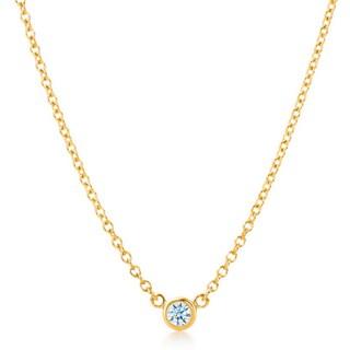 Suzy Levian 14k White Gold 1/6 ct Bezel Diamond Solitaire Necklace