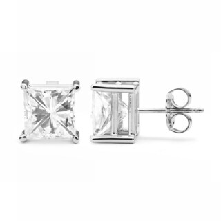 Charles & Colvard 14k White Gold 4.20 TGW Square Brilliant Classic Moissanite Stud Earrings