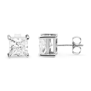 Charles & Colvard 14k White Gold 2.60 TGW Square Brilliant Classic Moissanite Stud Earrings