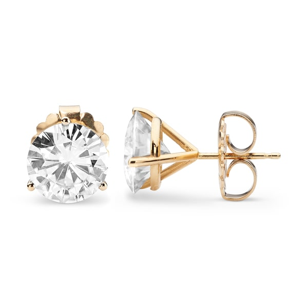 Charles & Colvard 14k Yellow Gold 6.20 TGW Round Classic Moissanite Stud Earrings