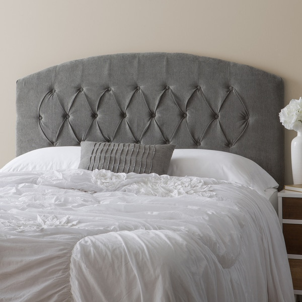 Humble Haute Halifax Velvet Grey Diamond Tufted Arch Top Upholstered Headboard