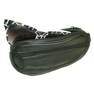 Genuine Leather Double Eyeglass Case with Detachable Wrist Strap and Belt Loop