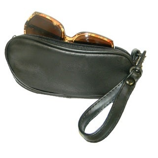 Continental Leather Genuine Leather Eyeglass Case with Detachable Wrist Strap