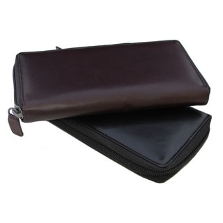 Continental Leather women's clutch zip around wallet organizer with removable checkbook cover